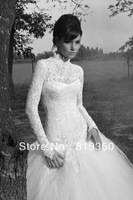 Sexy High Neck Floor-Length Ball Gown Vintage Lace Long Sleeve Wedding Dress 2013 New Arrival Free Shipping