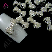Pearl Bow Nail Art 3d Alloy Decoration 50pcs white