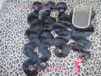 Free Shipping Brazilian Virgin Hair Body Wave with closure Hair Extension , 3bundles add 1pc 3.5''x4'' Lace Closure