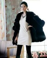 Genuine leather fur coat ladies sexy long design luxury faux outerwear overcoat fur coat