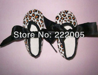 2013 new leopard print shoes with black bows for baby
