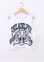 Yeah ! 2013 tiger head letter print women's o-neck sleeveless loose t-shirt vest