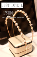 Fashion hair pin hair bands rhinestone gold plating pearl headband elegant hair bands 2013
