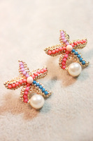 Five-pointed star colorful pearl women's exquisite vintage fashion small stud earring earrings