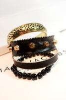 Multi-circle black punk pearl rivet leather mosaic vintage fashion multi-layer circle bracelet hand ring