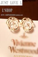 Stud earring female rhinestone 18k gold cutout flower small stud earring flower type fashion accessories earring