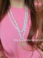 For nec  klace long design fashion all-match long necklace pearl vintage cross female accessories