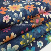 Vacation wind quality beautiful print denim elastic water wash fabric