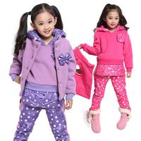 Children's clothing female child autumn and winter 2013 autumn child dot sweatshirt sports set clothes