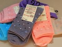 Classic dot 100% cotton female socks color multicolour