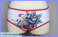Free shipping hotsale ed hardy brand Hot Sale Sexy Lady Cotton Underwear Big Rose Print Cheap Women Panties