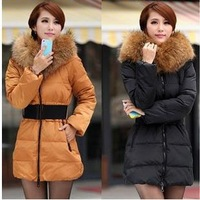 2012 Winter Women Fashion luxury large fur collar slim thickening medium-long down coat wadded jacket outerwear 6 Size  QC0300