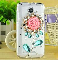 Beautiful Big Rose New DIY Diamond Luxury Bling Case Big Flower Design Crystal Case for Lenovo A390