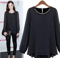 Free Shipping!2013 autumn new women's European star high density thick chiffon shirt Women primer shirt long-sleeved shirt