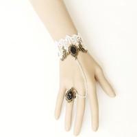 Handmade unique mysterious vampire style gothic devil vintage royal lace bracelet