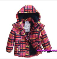 Retail Topolino kids girls plaid winter down jacket baby cotton padded outerwear warm thickening wadded coat