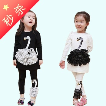 Little swan female child one-piece dress spring and autumn baby 100% cotton long-sleeve skirt child spring and autumn dress
