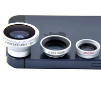 3 in 1 Fisheye Lens+ Wide Angle + Micro Lens photo camera Kit Set for iPhone 4 4S 5 I9100 HTC Android