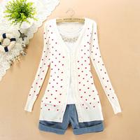 2013 autumn women's medium-long small heart long-sleeve cardigan sweet all-match sweater