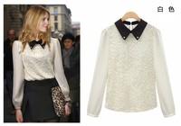 Free Shipping!European 2013 autumn new women's fashion lapel collar bottoming shirt rhinestones lace chiffon t shirt women