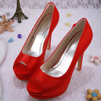 Fall 2014 Women's Double Platform Designer Fashion High Heels Shoes Red Satin Peep Toes for Wedding Party