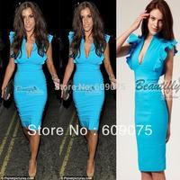 Free shipping New  Womens' Deep V-Neck Petal Sleeve Stretchy Bodycon Pencil  Dress