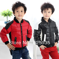 2013 Children 's Baby Clothing Winter Child Down Coat Motorcycle PU Male Child Down Coat to Keep Warm Jacket Free Shipping