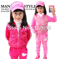 2013 New 4 pieces/lot shining design cotton rose and pink full velvet girls Hoodies kids clothing sets