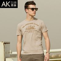 Ak men's clothing 2013 summer print male short-sleeve summer T-shirt Men 100% cotton short-sleeve