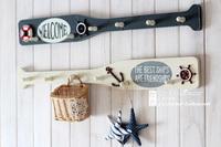 Free shipping Retro wood finishing paddle coat hook muons wall towel decoration 4