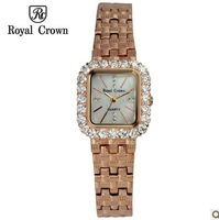 Royal Crown Gold Watches Elegant Women's Wristwatches Female Rhinestone Dial Self-Wind Discount Quartz Watch Relogio Feminino