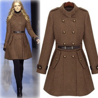 New Women's Popular Woolen Trench Coat Lady Fashion Celebrity Double-breasted Winter Uniform Style Overcoat Thick Jacket WT1718