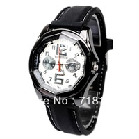 Women Mens Black Round Dial Quartz Watch Wrist Watch Silicone Belt