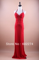 Rhinestone Beading Red Sexy V-neck Big Racerback Evening Dress