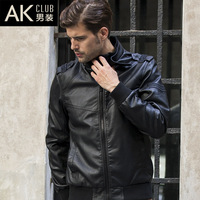 2013 autumn military water washed leather stand collar leather jacket male leather clothing outerwear casual jacket