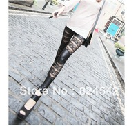 Free Shipping Black Lace Imitation Leather Stripes Double Tight  Roses Nine Minutes Of Pants For Women