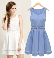 Fashion women's 2013 lace vintage decorative pattern slim waist o-neck sleeveless one-piece dress