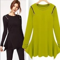 Free Shipping!2013 fall autumn big European and American star models shoulder zipper irregular hem long-sleeved long section