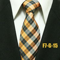 New Arrival  Mens Popular Gatsby Check Ties For Men Orange With Black Plaid Man Formal Grid Neckties Gravatas 7CM F7-G-15