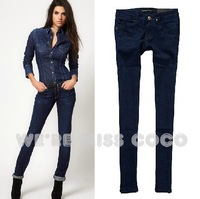 2013 Autumn/Winter Hot Dark Figure Hip Lifting Low Waist Skinny Denim Jeans for Ladies Women Free Shipping