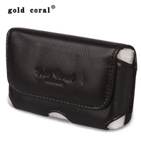 Gold coral male cowhide waist pack  for apple   3.5 mobile phone bag strap small waist pack male