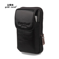 Gold coral cowhide waist pack fashion mobile phone bag casual 4.5 mobile phone case strap waist pack