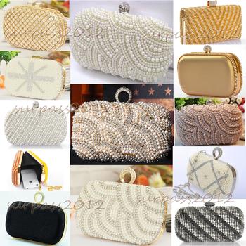 New Style Clutch Handbag Evening Bag Pearl Diamond Chain Wedding Party Crysta Purse