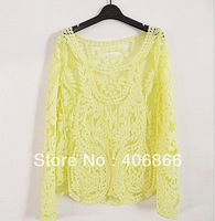 Yellow/Green/Black/White/Beige Dress Sweet Semi Sexy Sheer Long Sleeve Embroidery Floral Lace Crochet T shirt