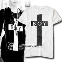 Free shipping fashion hoodie brand 2013 summer boy london cross cool men's clothing cotton short-sleeve T-shirt 100%  boy london