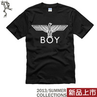 Free shipping fashion hoodie brand 2013 boy londonboy 100% cotton o-neck lovers short-sleeve T-shirt  boy london