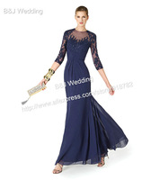 2014 New Design Women Blue Long Formal Dress Elegant Evening Gowns Party Dresses With 3/4 Long Sleeve