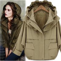 2013 autumn olive vintage military loose detachable cap water wash 100% cotton short jacket