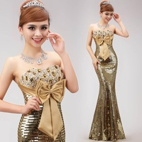 2015 long design gold paillette evening dress fish tail formal dress gold sequined strapless dress