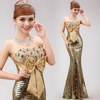 2014 long design gold paillette evening dress fish tail formal dress gold sequined strapless dress